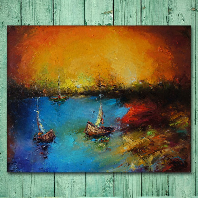the sunset, Oil painting, free shipping - Image 0