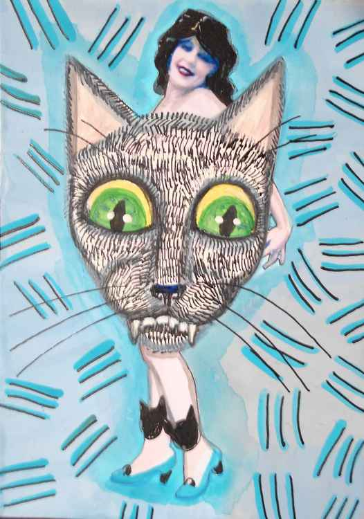 Cat Scratch Blue Original Painting -