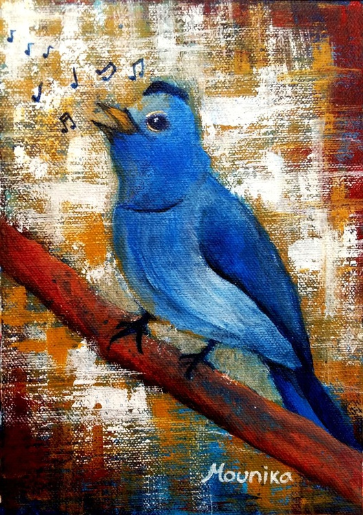 Blue Bird Singing Art Original Contemporary Vibrant Semi Abstract Nightingale Bird Painting For Home Decor