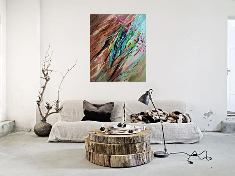 """DISCOUNT PRICE """" SPRING IS COMING """"  ABSTRACT original OIL painting CITY palette knife GIFT MODERN URBAN ART OFFICE ART DECOR HOME DECOR GIFT IDEA - Image 0"""