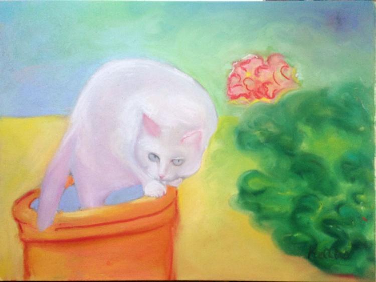 Cat on a Garden Pot - Image 0