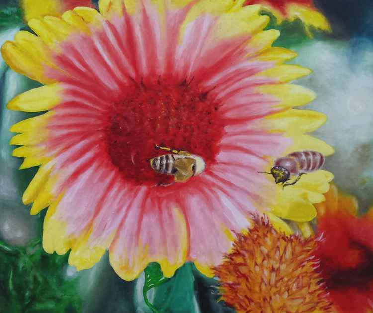 Bees On Flower - Free Shipping -