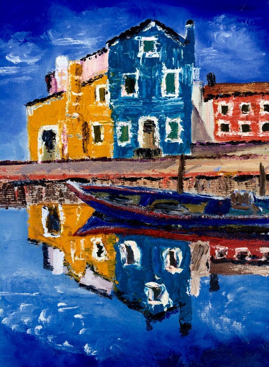 Burano houses reflection - Image 0