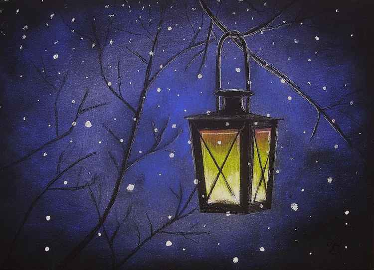 Lantern in the Snow -