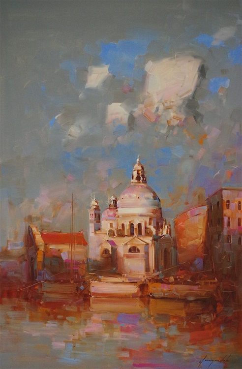 Venice in Gold Original oil painting  Handmade artwork One of a kind Large Size - Image 0