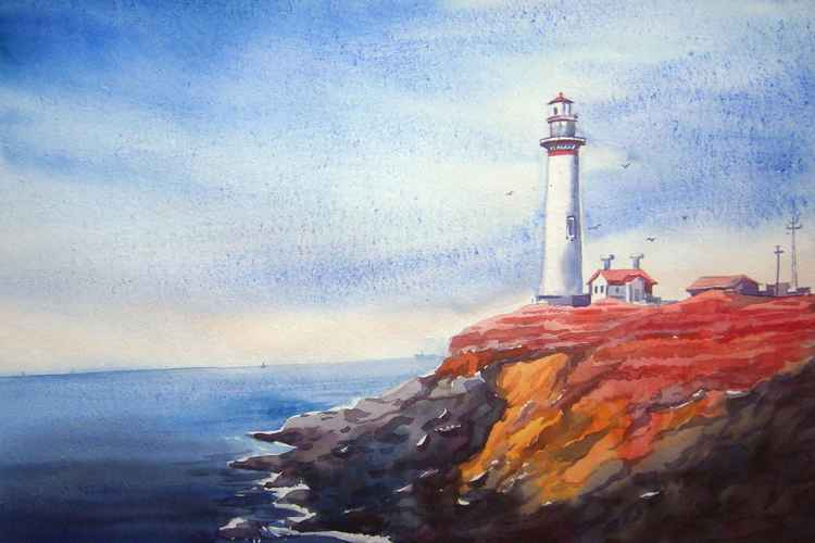 Lighthouse and Flowers land-Watercolor on Paper -