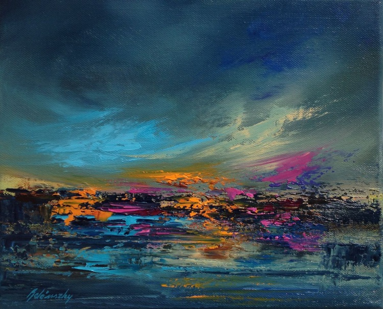 Evening Lights - 25 x 30 cm, abstract oil painting in blue, purple and orange - Image 0
