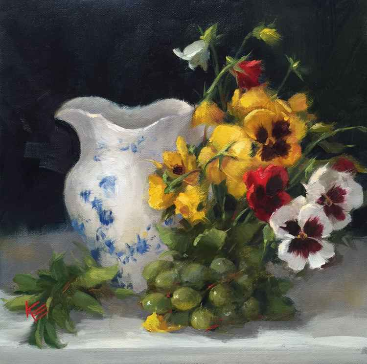 Pitcher & Pansies Still Life