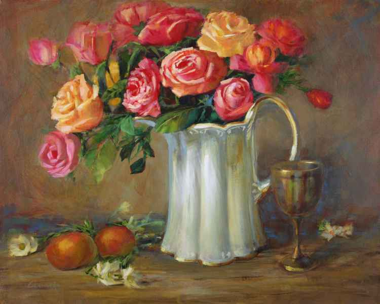 Old Fashioned Roses with Chalice