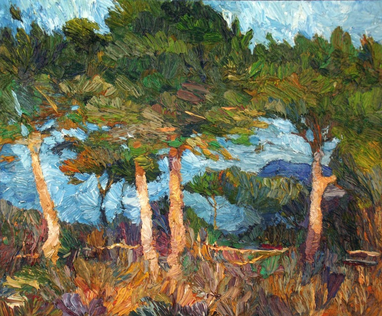 Pine trees oil painting - Image 0