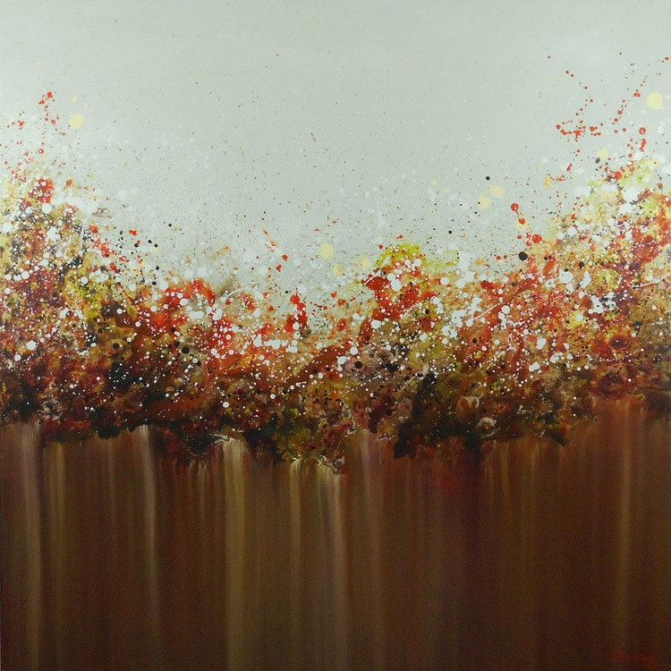 """Fire Opal - 40x40"""" Mint green, orange and brown botanical abstract floral landscape on canvas - Image 0"""
