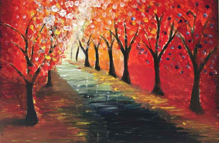 RED AUTUMN TREES -