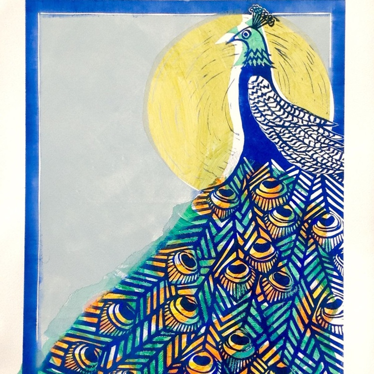 Peacock edged in Blue - Image 0