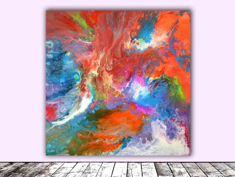 Dancing Colors - Abstract Painting - Ready to Hang, Hotel and Restaurant Wall Decoration - Image 0