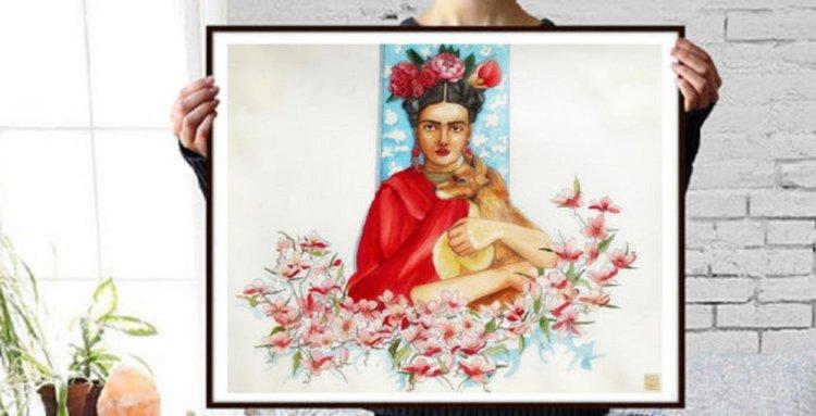 Frida Kahlo and her fox dog | Artfinder