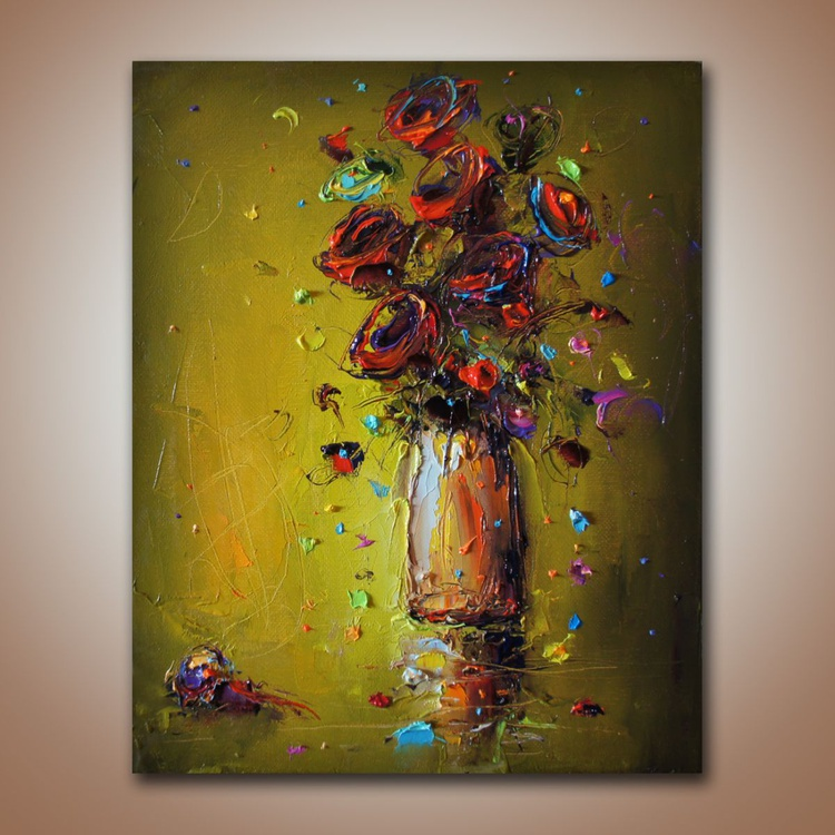 Colorfull poem , Original oil painting on canvas, flowers art, Original painting, free shipping - Image 0