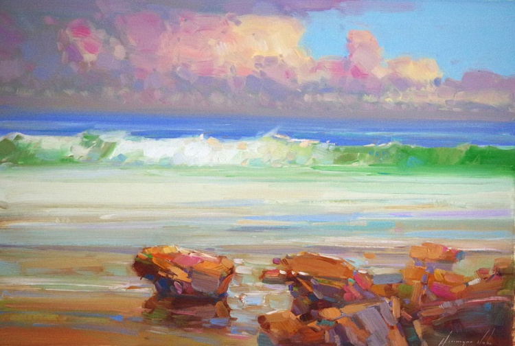 South Bay, Seascape Original oil painting, Handmade artwork, Realism, One of a kind, Signed with Certificate of Authenticity - Image 0