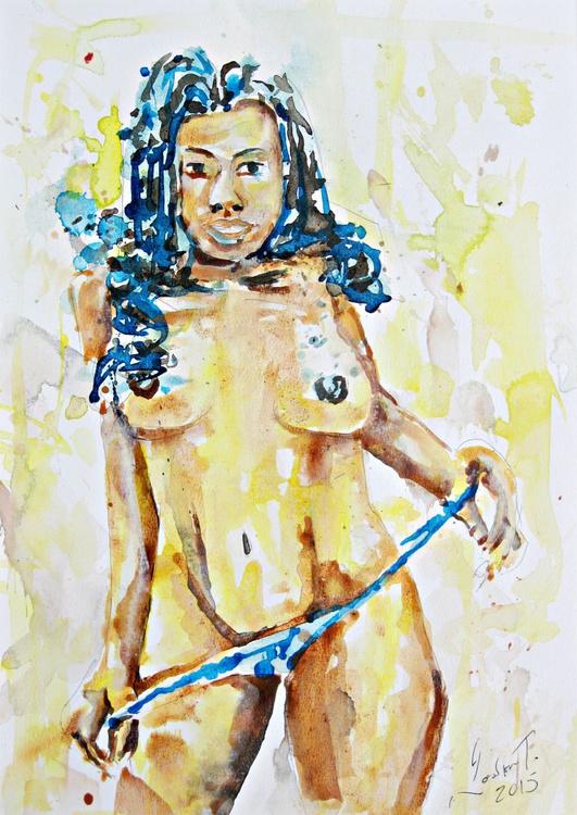painted sketch, untitled (blue panties) - Image 0