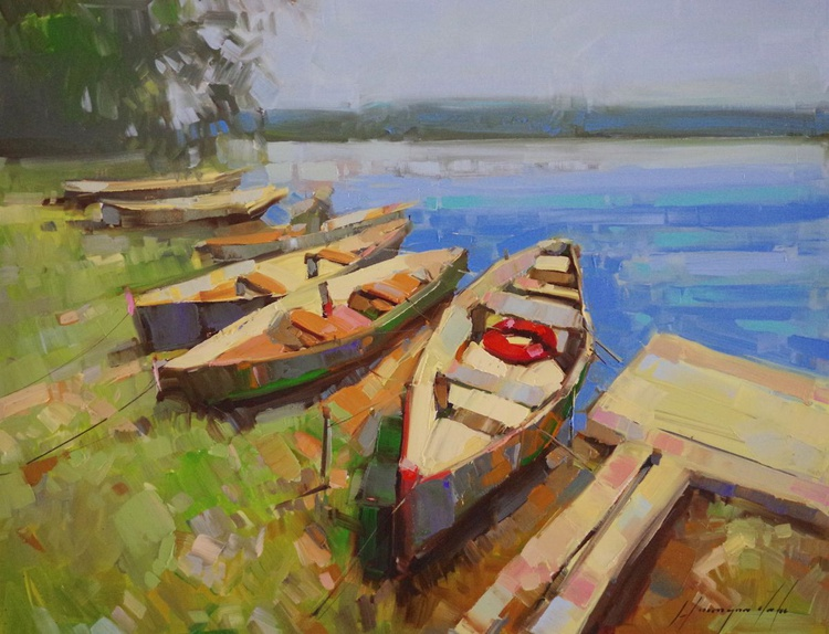 Rowboats, Original oil painting, Handmade artwork, One of a kind, Signed with Certificate of Authenticity - Image 0