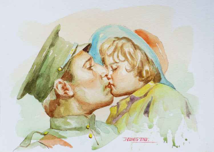 original art watercolour painting  portrait of  general with cute daughter on paper #16-5-10-01 -