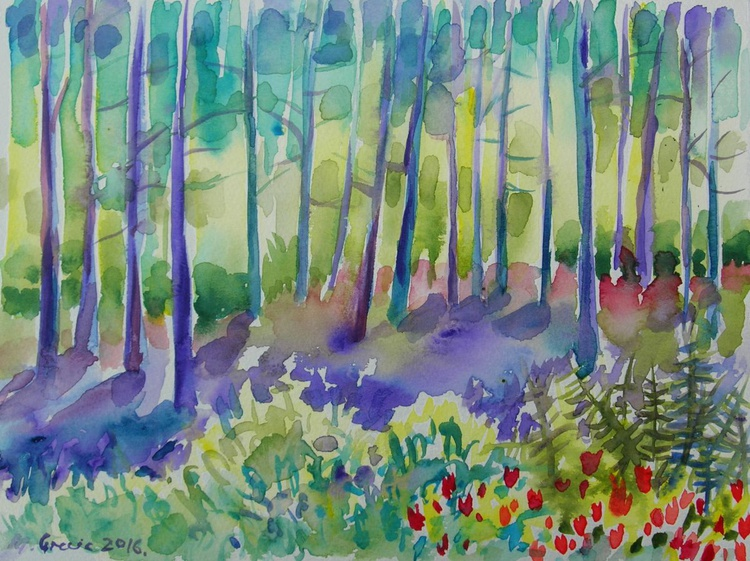 Into the woods - watercolours - Image 0