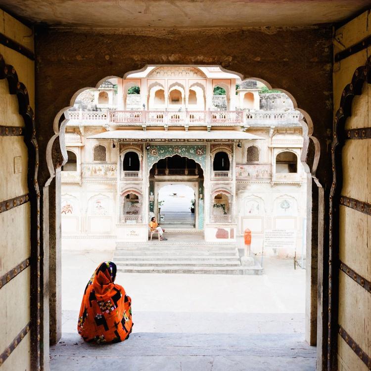 The Monkey Temple Jaipur (127x127cm) - Image 0