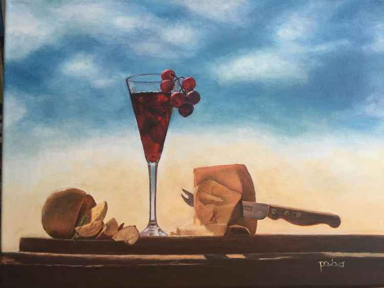 Still Life With Wine And Cheese -