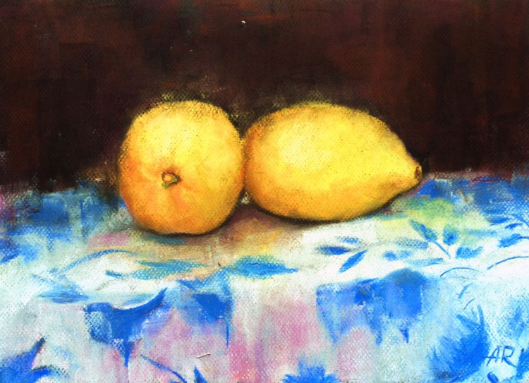 Still life with lemons in pastel - Image 0