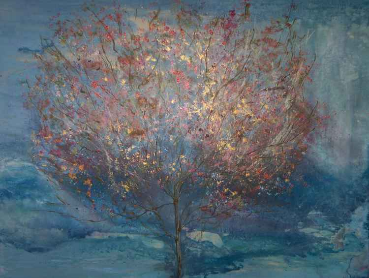 Blushing Rami Tree - Large Abstract Crimson Copper Ready to Hang