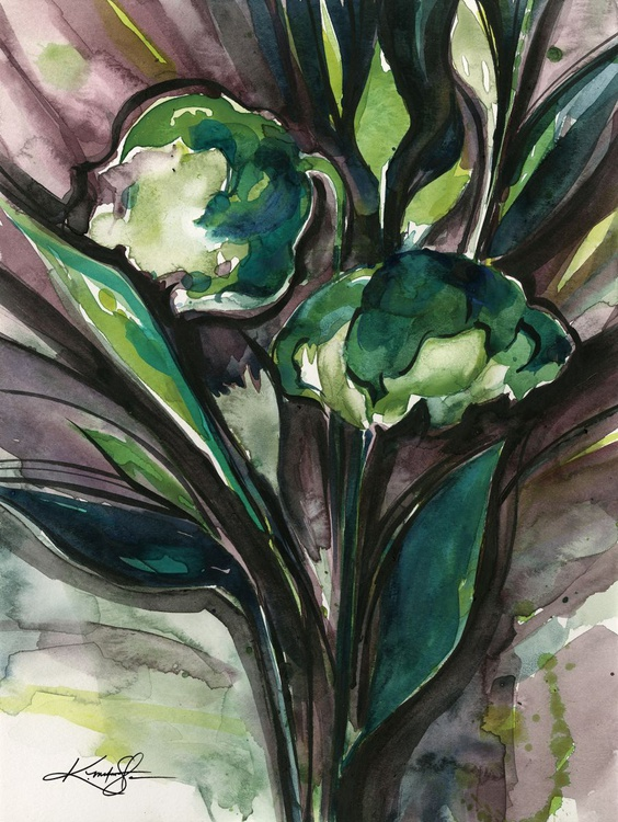 Green Bliss No. 4 - Flower Watercolor Painting - Image 0