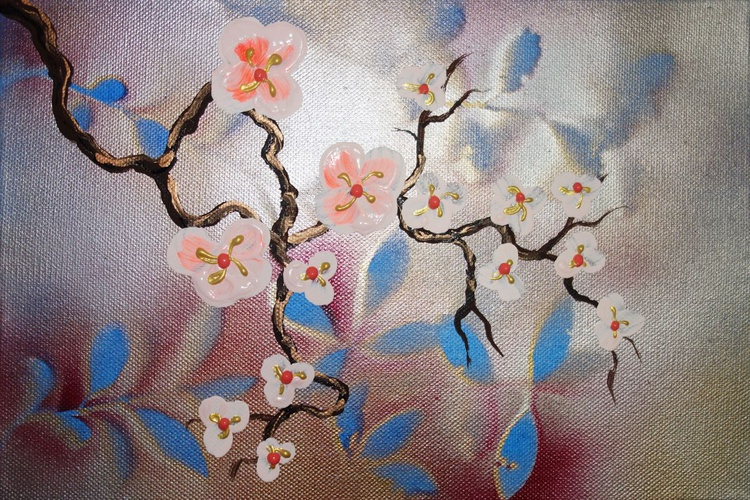 silver Cherry blossom a40 30x20cm floral painting flowers decor original floral art acrylic on stretched canvas spring sakura art wall art by artist Ksavera - Image 0