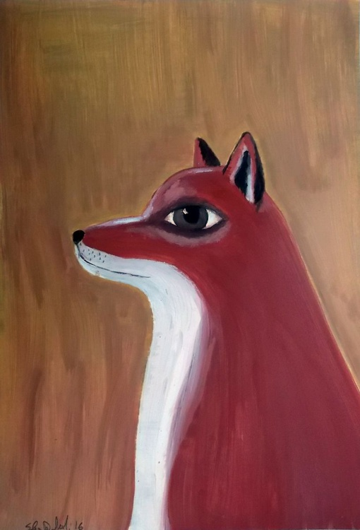 the red fox - oil on paper - Image 0
