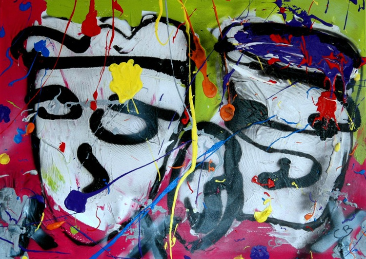 2 FACE   70x50x2 abstract face painting - Image 0