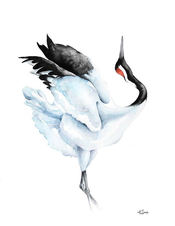 Red-crowned Crane,  bird, birds, animals, wildlife watercolour painting - Image 0