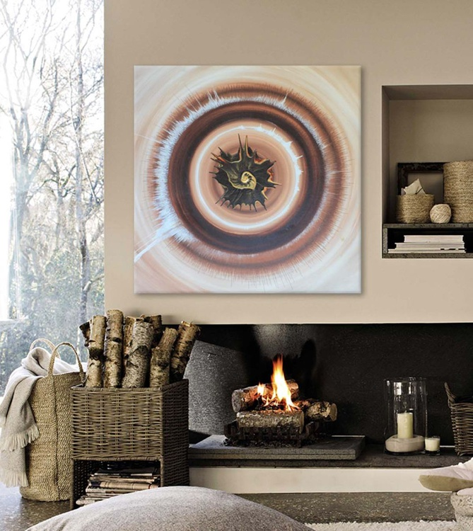 SHEVA II -  Neutral Modern Abstract Painting - Image 0