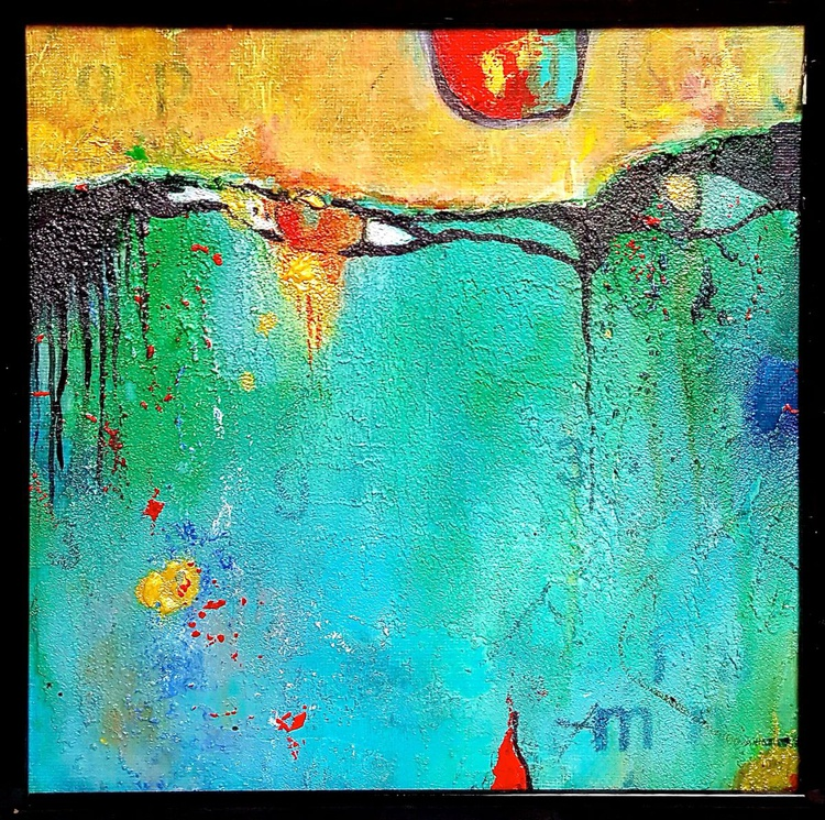 small abstract acrylic painting , gift - Image 0