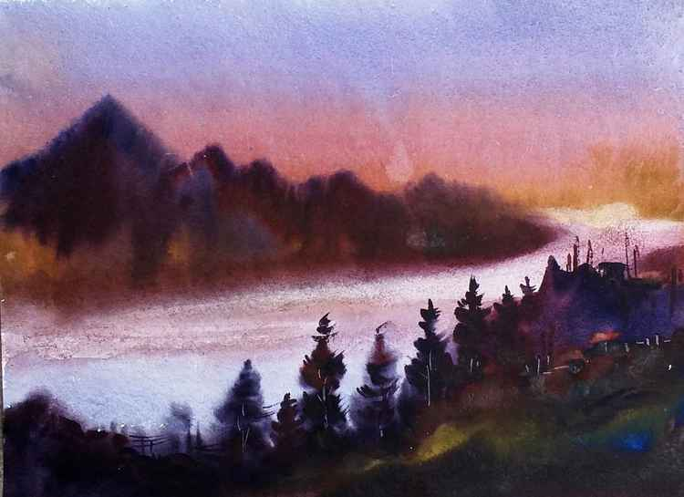 Sunset Mountain - Watercolor Painting -