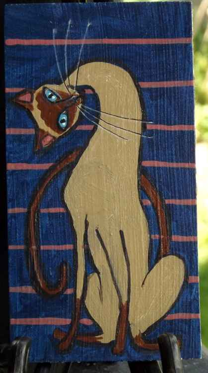 Long Neck Siamese Cat Original Painting on Wood