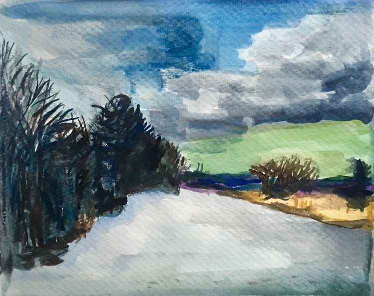 Water color: Winter Sky - Image 0