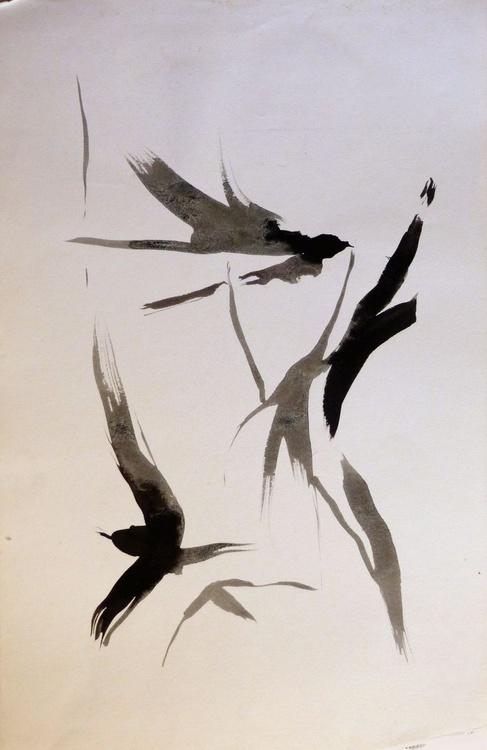Swallows, 32x50 cm - Image 0