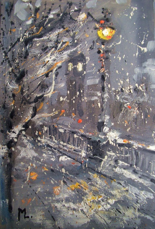 """"""" LONDON IN THE SNOW """" original painting heavily textured - Image 0"""