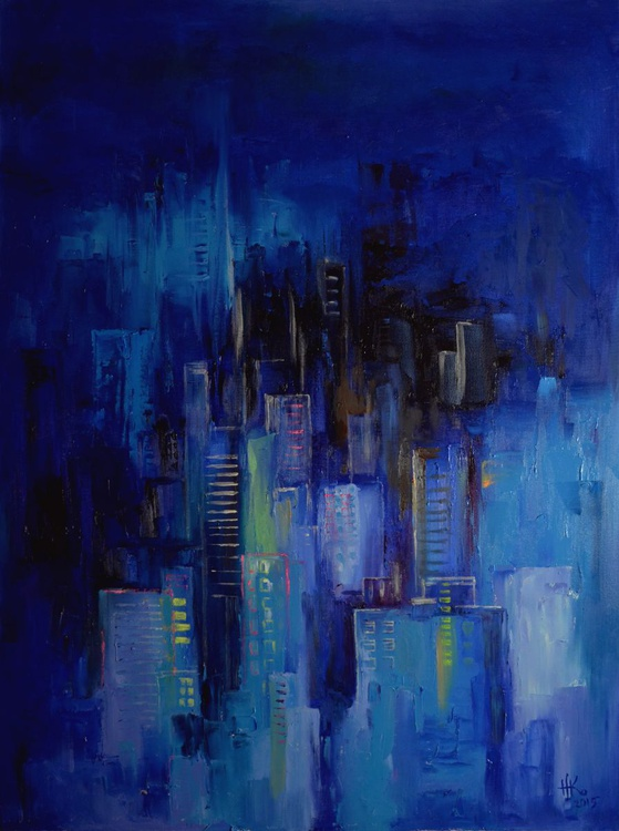 Night city (painting is glowing in the dark) - Image 0