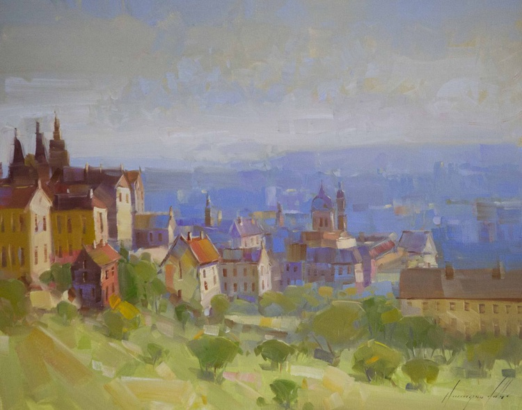 Prague Cityscape oil Painting on Canvas One of a kind - Image 0