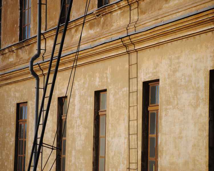Exterior Building Photograph – Architectural Travel Photograph Helsinki Finland Neutral Colors, Ochre, Brown And Beige Building Exterior -