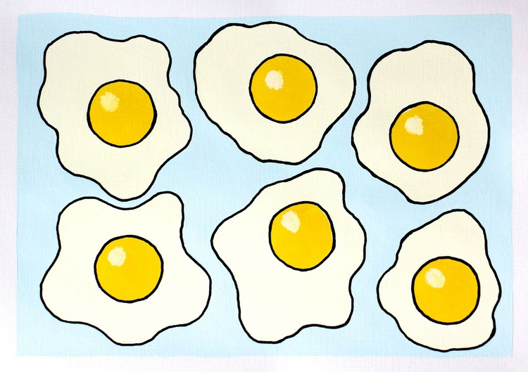 Fried Eggs Pattern - Pop Art Painting On A4 Paper - Image 0