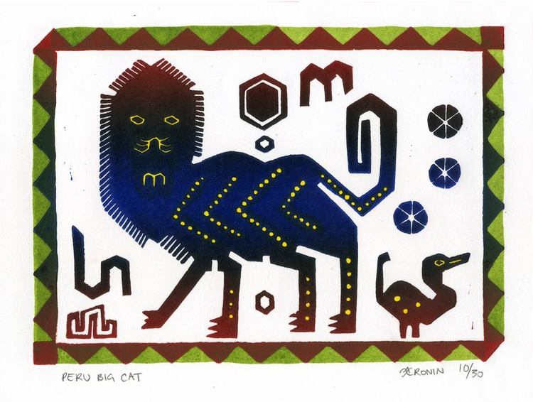 Peru Big Cat Linocut Hand Pulled Original Relief Print Edition of 30 - Image 0