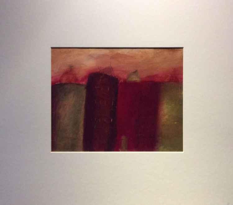 """"""" Mediterranean red village """" ( 2 )25x20cm -"""