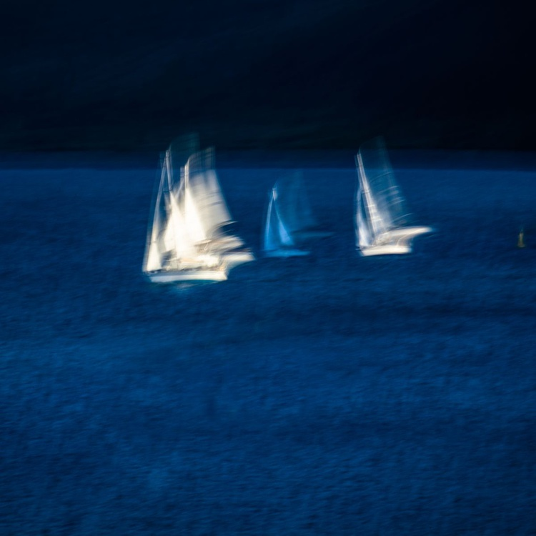 Midsummer in the Minch - Yachting Race from Isle of Skye  - Deep Blue Abstract Seascape      Ready to Hang - Image 0
