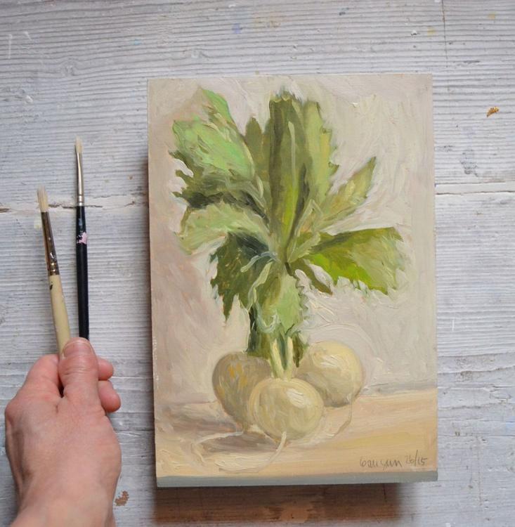 White Italian Radishes Modern Still Life Oil Painting - Image 0