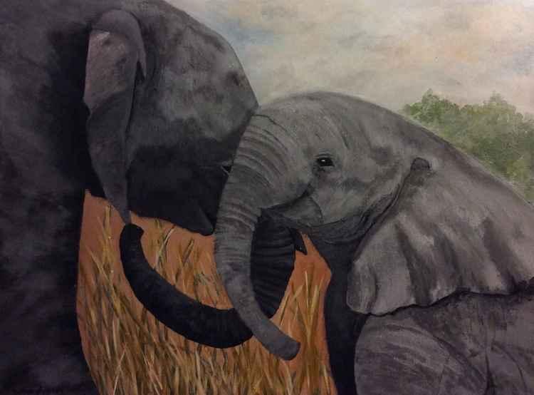 Mama and Baby Elephant -